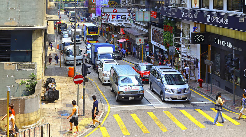 Hong kong street view : queen victoria street, central stock photography