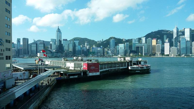 Hong kong street view victoria harbour stock photo