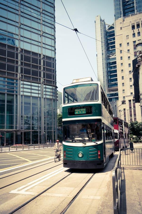 Hong Kong streetcar royaltyfri foto