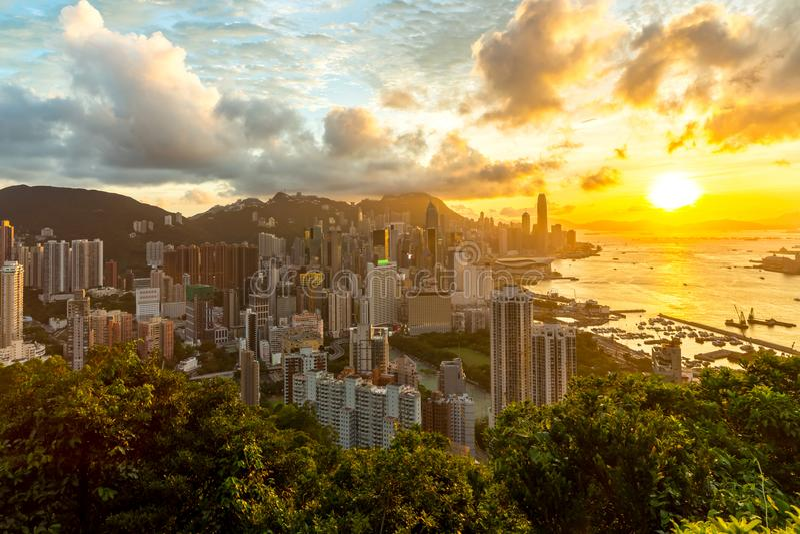 Hong Kong Sunset Aeriel View royalty free stock photo