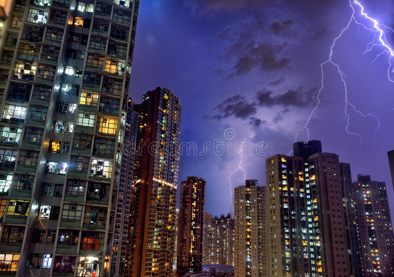 Hong Kong Thunder light royalty free stock photo