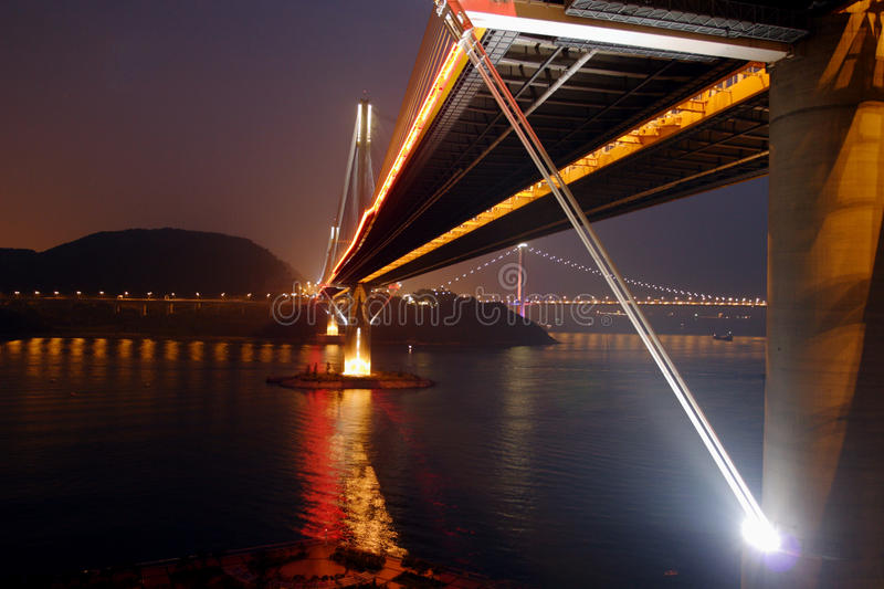 Hong Kong : Ting Kau Bridge. Ting Kau Bridge is a 1,177-metre long cable-stayed bridge in Hong Kong that spans from the northwest of Tsing Yi Island and Tuen Mun royalty free stock photo
