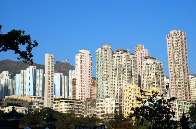 Hong Kong: Torres do apartamento em prédio alto imagens de stock
