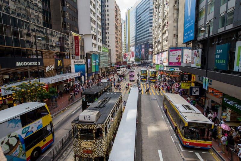 Hong Kong trängde ihop gatasikt royaltyfri bild