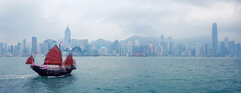 Hong Kong traditionell segelbåt royaltyfri foto