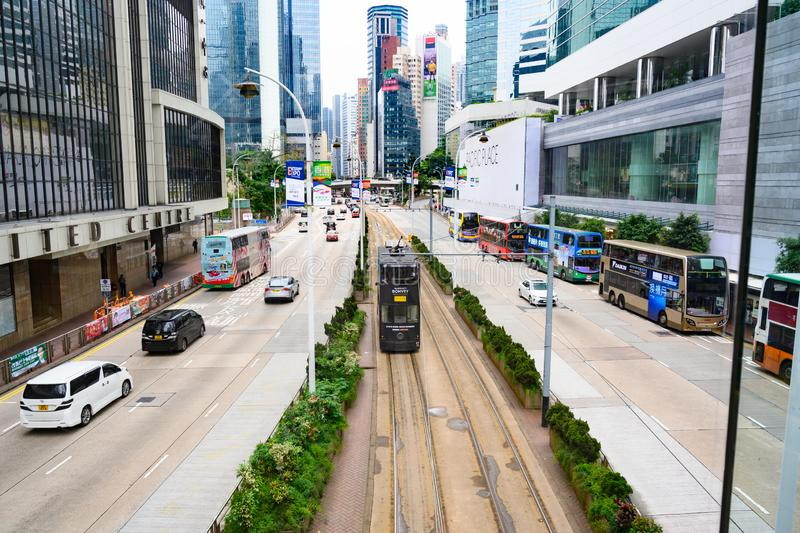 Hong Kong Traffic with double-decker Buses and Tram, Trolly in Hong Kong, double-deck Tram stock photography