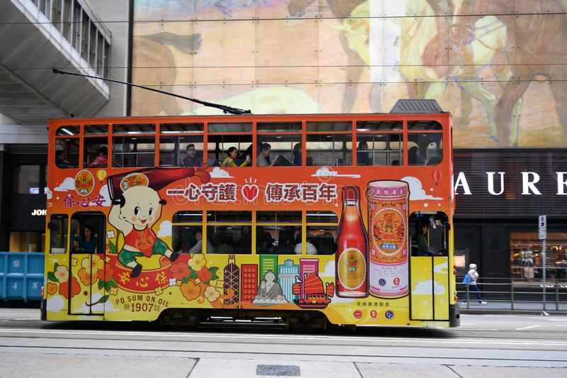 Hong Kong Tram with advertising, trolly in Hong Kong, double-deck tram stock photos