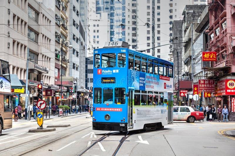 Hong Kong Tram Bus histórico en distrito central foto de archivo