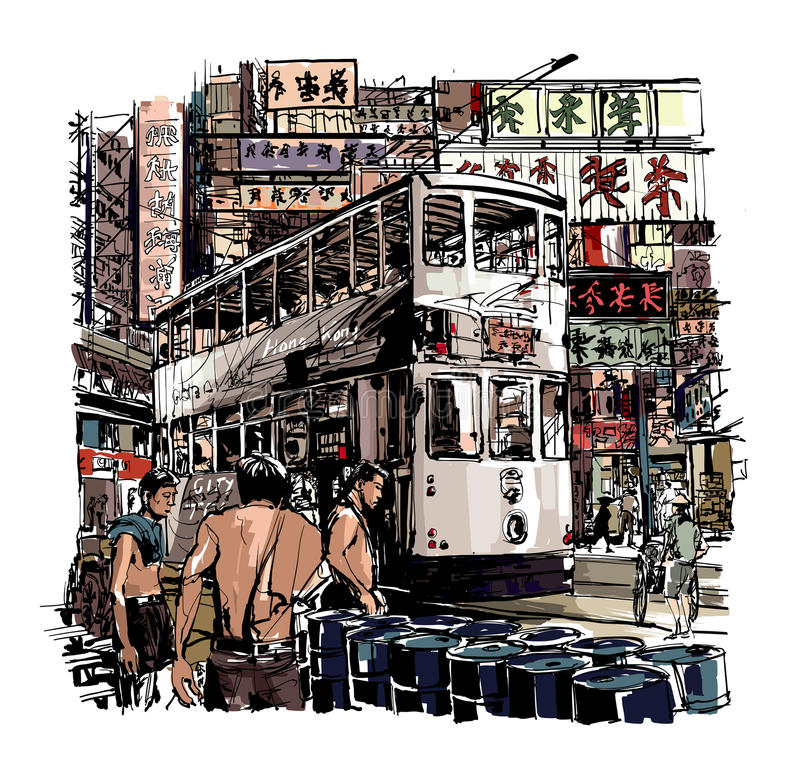 Hong Kong, tram sulla via royalty illustrazione gratis