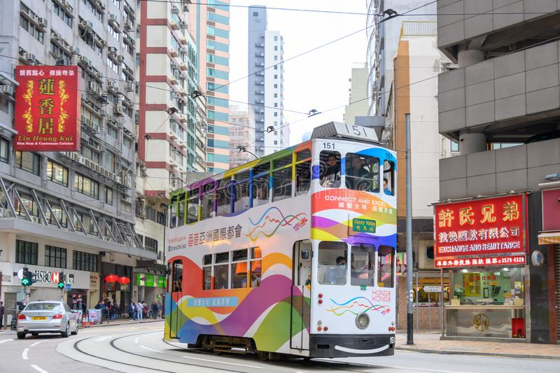 Hong Kong Tram, trolly in Hong Kong, double-deck tram royalty free stock images