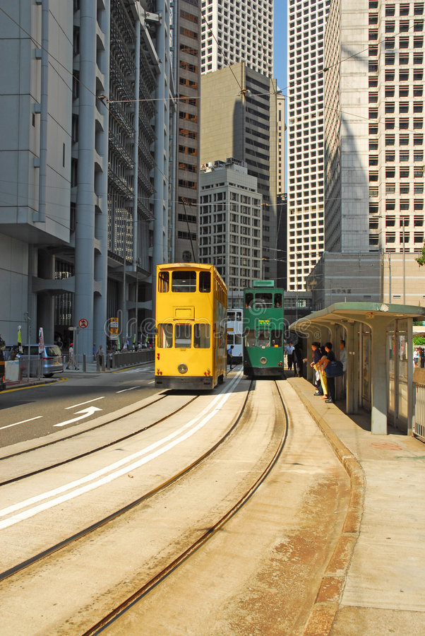 hong kong tramwaje obrazy stock