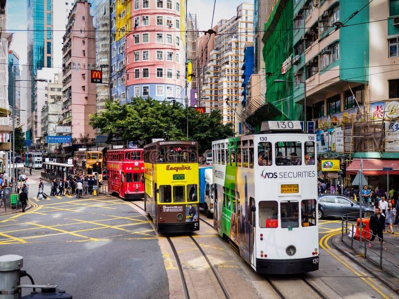 Hong Kong Tramways ' Ding Ding ' tranvías del autobús de dos pisos imagen de archivo libre de regalías