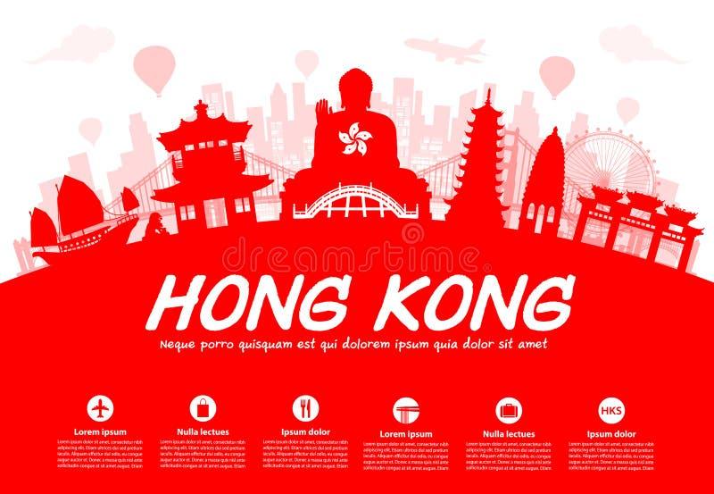 Hong Kong Travel Landmarks illustration libre de droits