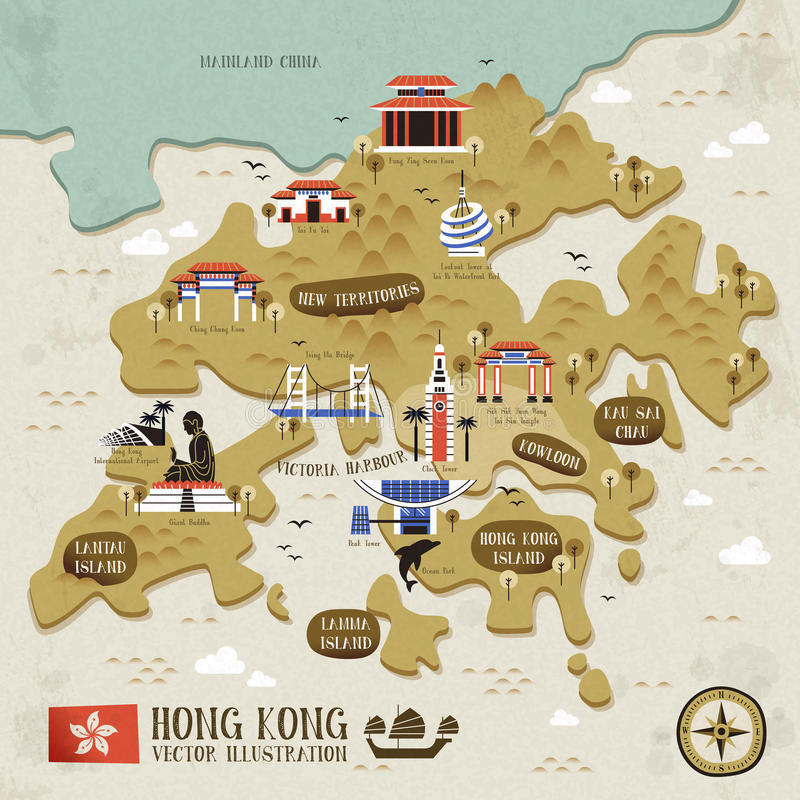 Hong Kong travel map stock vector Illustration of mountain 61377586