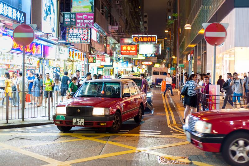Hong Kong Tsim Sha Tsui-Nacht stock foto's