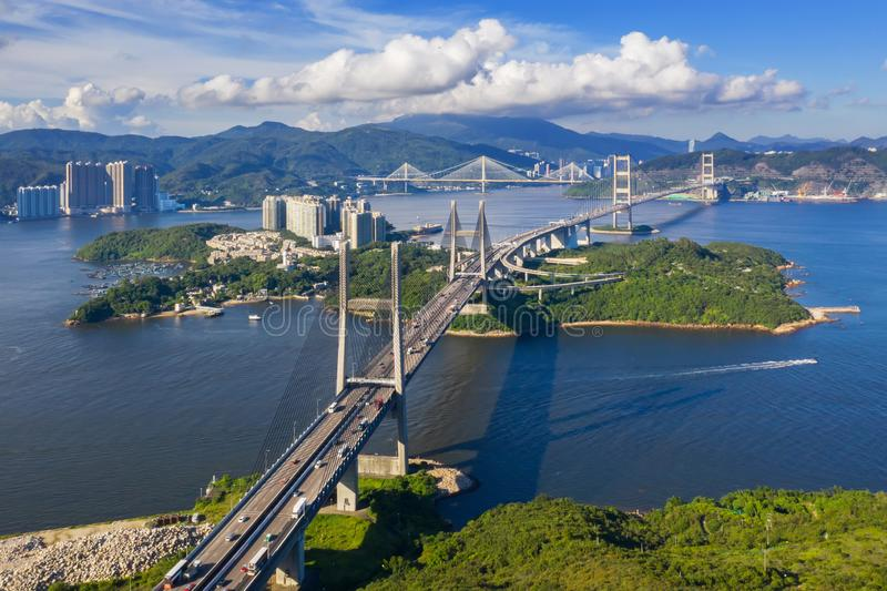 Hong Kong Tsing Ma Bridge. Tsing Ma Bridge is a bridge in Hong Kong. It is the world`s 11th-longest span suspension bridge, and was the second longest at time of royalty free stock images