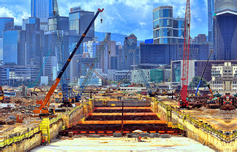 Hong kong tunnel construction royalty free stock image