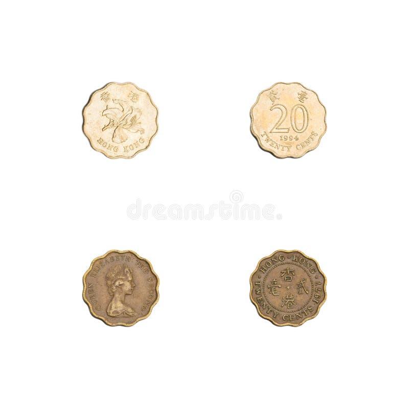 Hong Kong twenty cents coins collection stock image