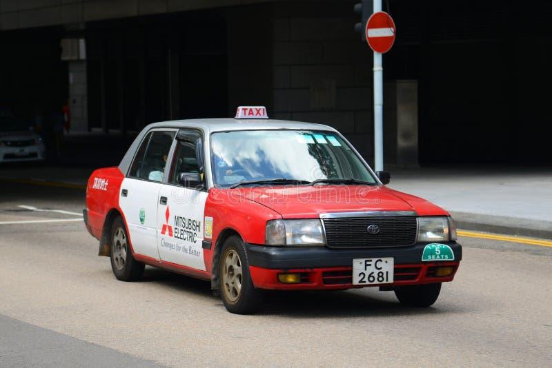 Hong Kong Urban red taxi stock photo