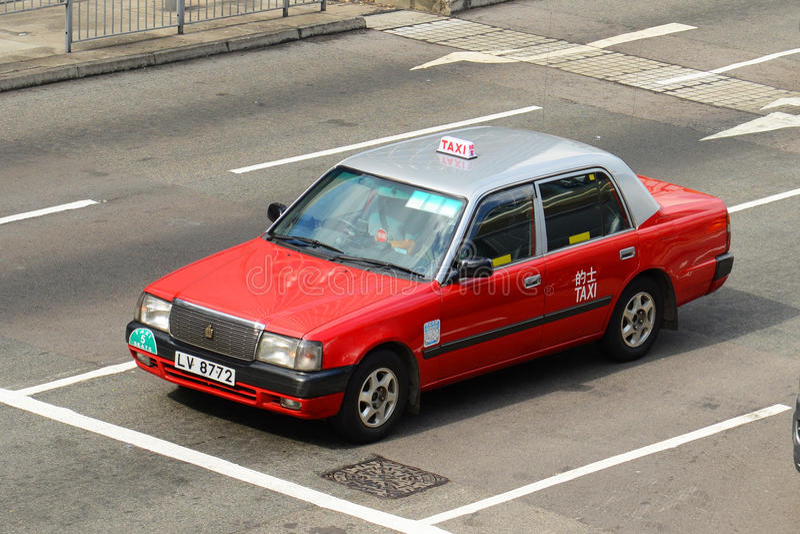 Hong Kong Urban red taxi stock image