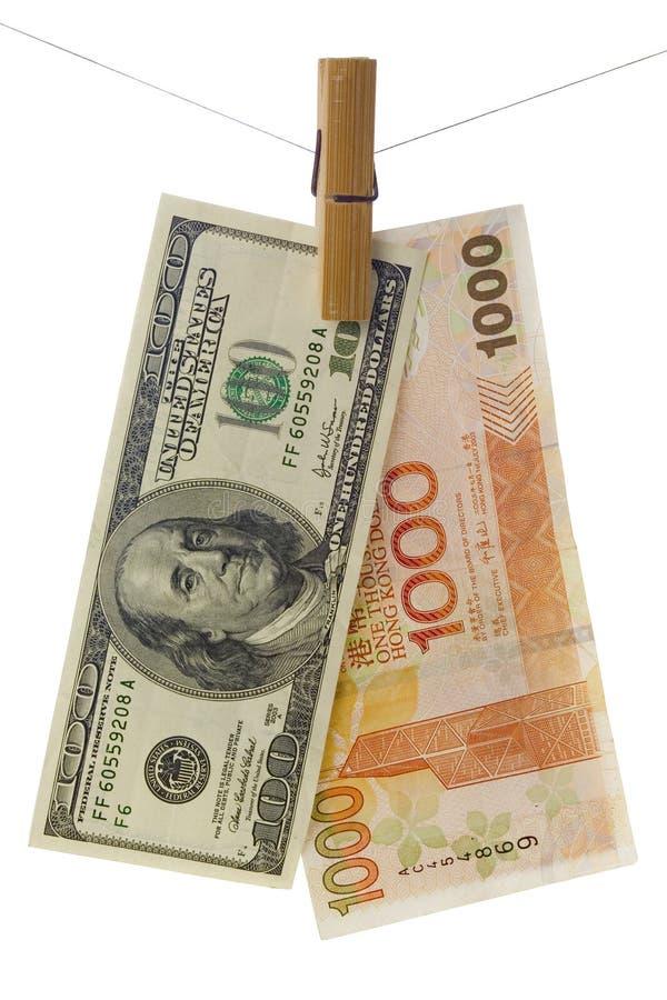 Hong Kong and US dollar stock photo