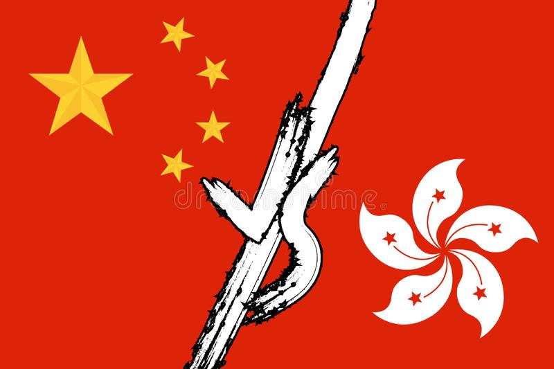 Hong kong versus porcelanowy krajowy konflikt ilustracja wektor