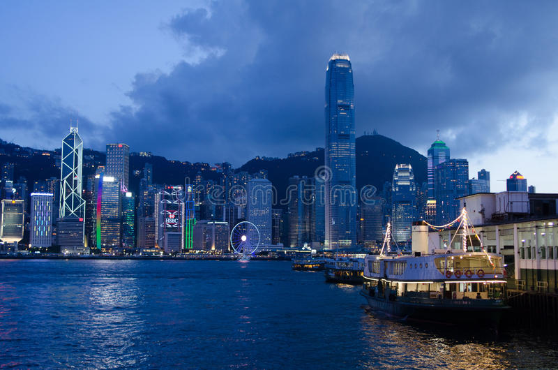 Hong Kong victoria hamn royaltyfri fotografi