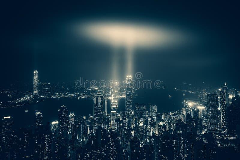 Hong Kong Victoria Harbor día y noche imagen de archivo