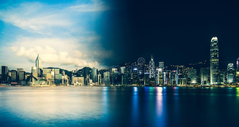 Hong Kong Victoria Harbor día y noche imagen de archivo libre de regalías