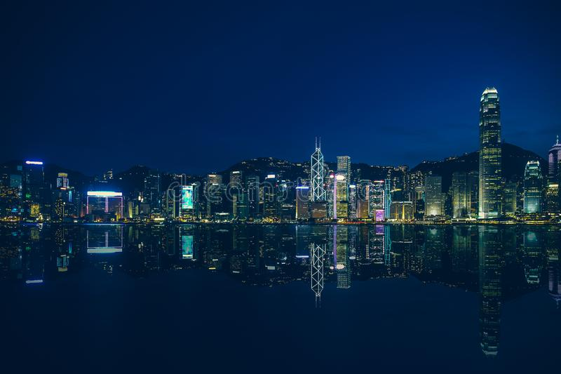 Hong Kong Victoria Harbor day and night. Hong Kong Victoria Harbor, photo token with Canon 5D mark III royalty free stock photo