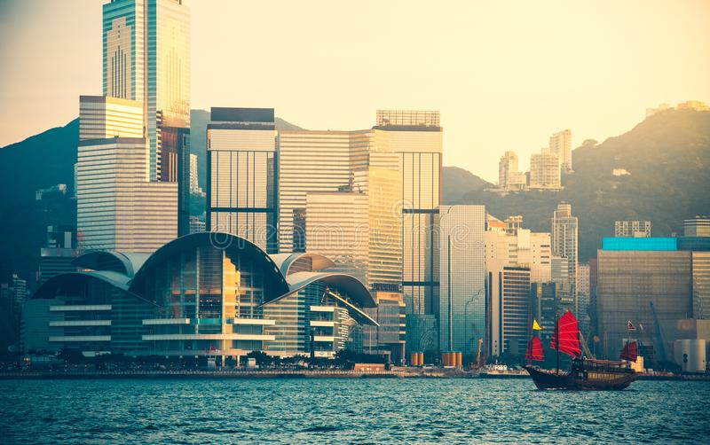 Hong Kong Victoria Harbor day and night. Hong Kong Victoria Harbor, photo token with Canon 5D mark III stock photography