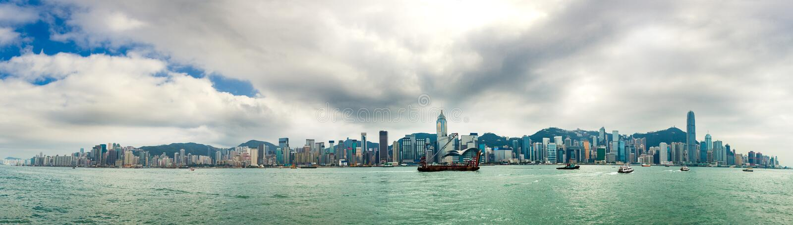 Hong Kong Victoria Harbor at day. Panoramic by 10 shots stock photo