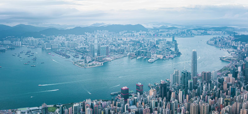 Hong Kong Victoria Harbor at daytime, panorama. Hong Kong Victoria Harbor daytime, panorama royalty free stock images