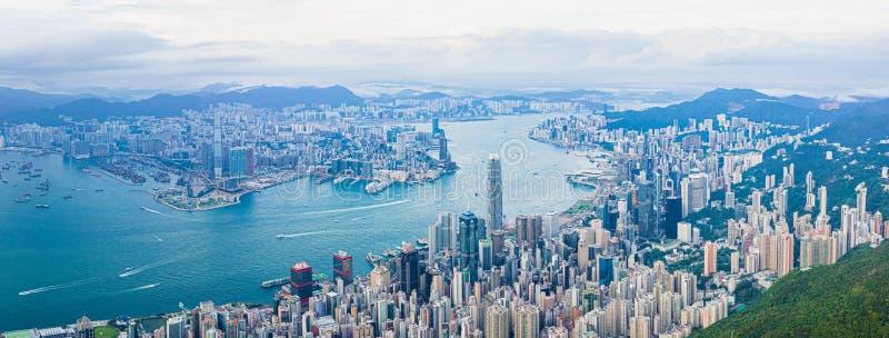 Hong Kong Victoria Harbor at daytime, panorama. Hong Kong Victoria Harbor daytime, panorama stock photo