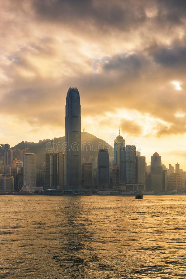 Hong Kong victoria harbor at golden hour of sunset scene.  royalty free stock photos