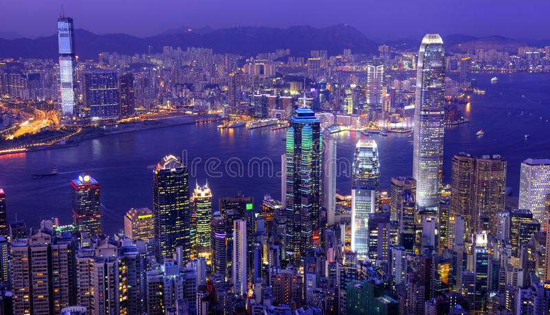 Hong Kong Victoria Harbor at Night.  royalty free stock image