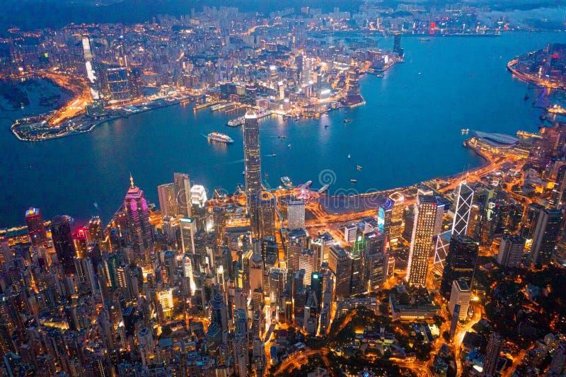 Hong Kong Victoria Harbor night view. Hong Kong Victoria Harbor at night stock image