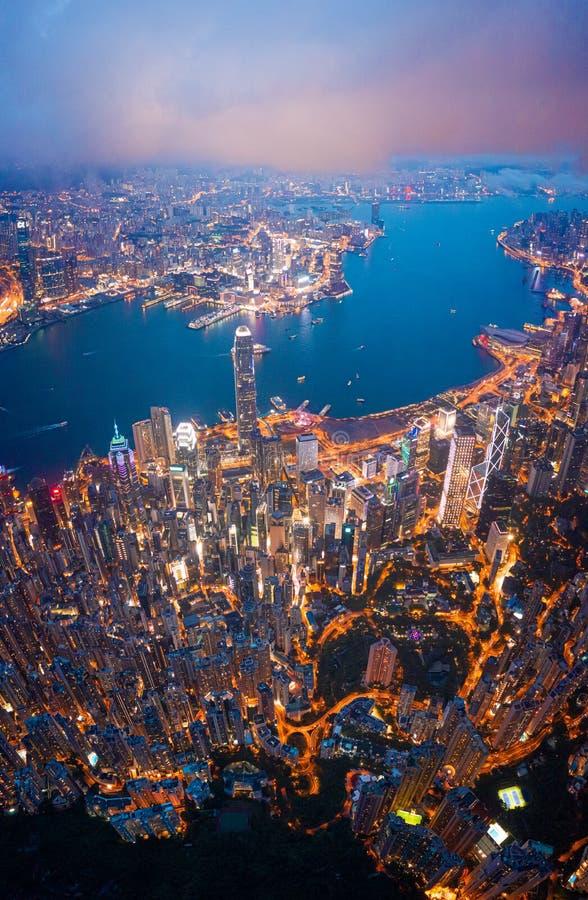 Hong Kong Victoria Harbor night view. Hong Kong Victoria Harbor at night stock photography