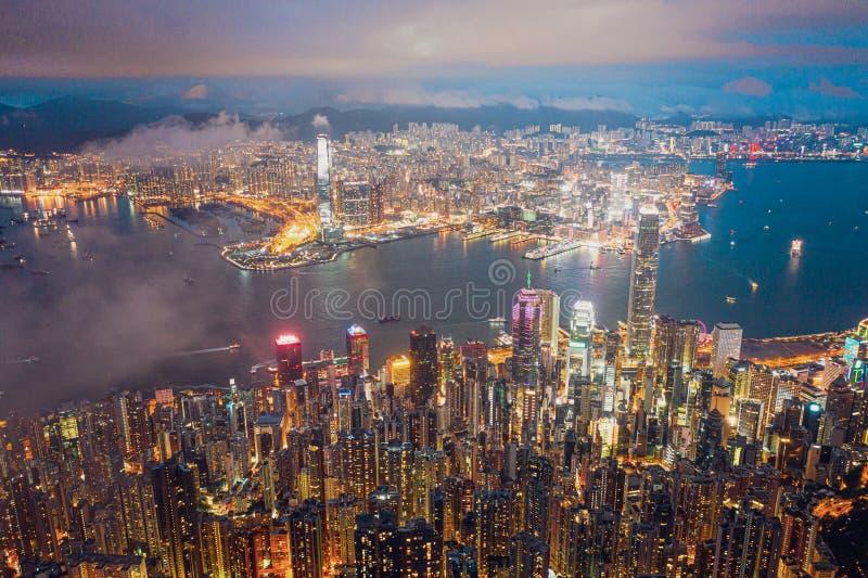 Hong Kong Victoria Harbor night view. Hong Kong Victoria Harbor at night stock photo