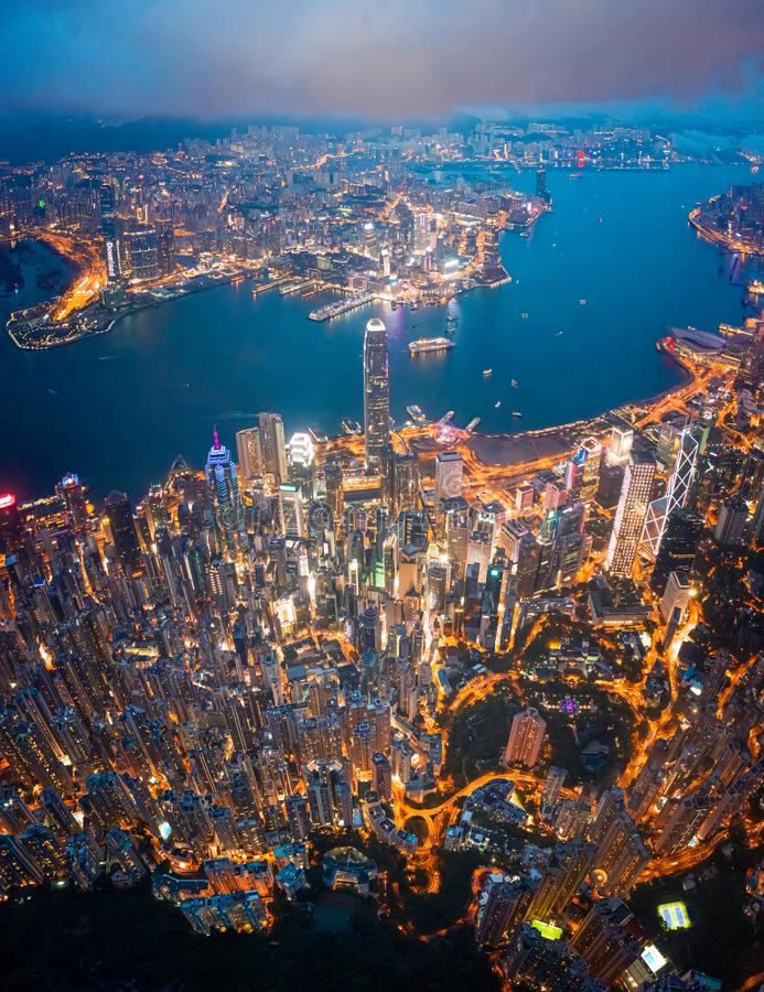 Hong Kong Victoria Harbor night view. Hong Kong Victoria Harbor at night royalty free stock photography