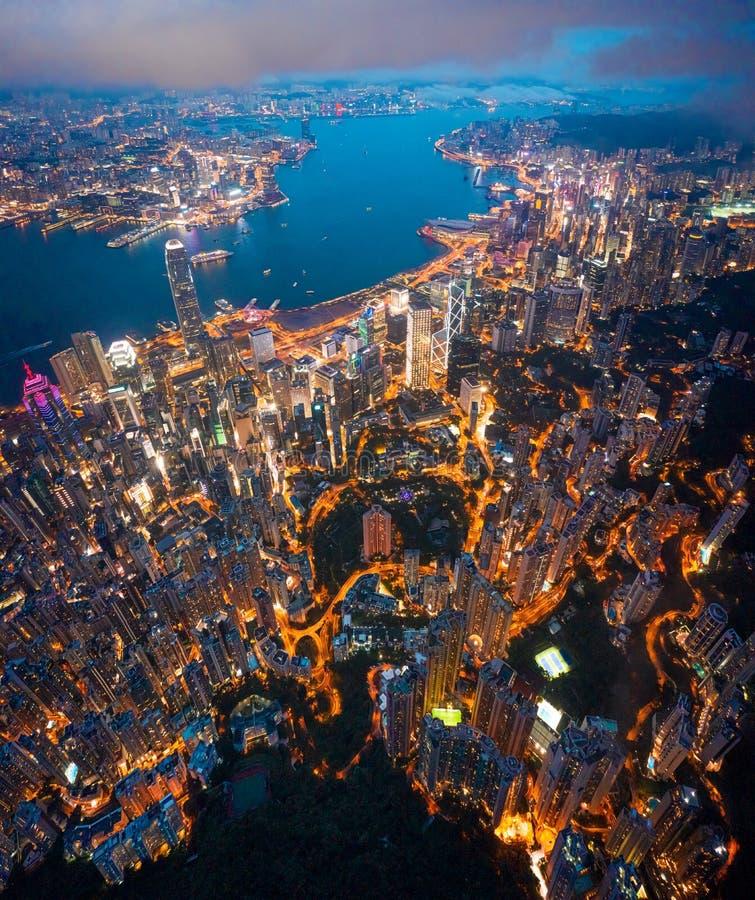 Hong Kong Victoria Harbor night view. Hong Kong Victoria Harbor at night stock photos