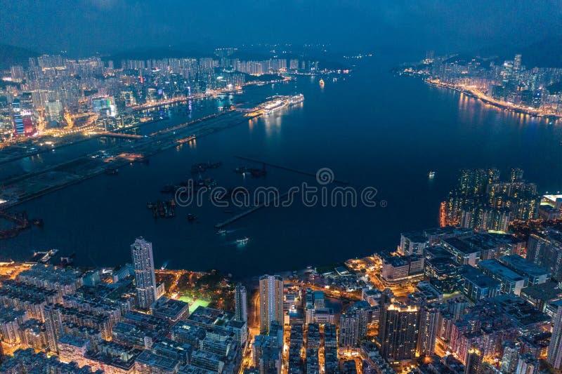 Hong Kong Victoria Harbor night view. Hong Kong Victoria Harbor at night royalty free stock image