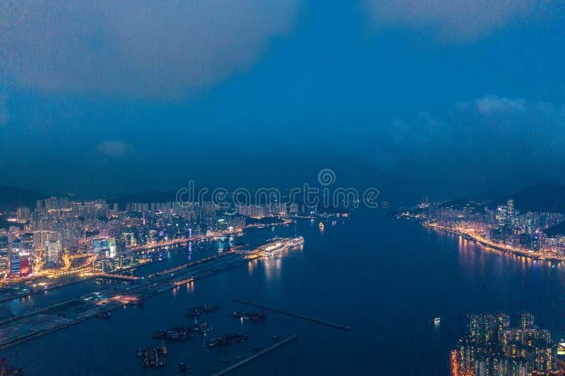 Hong Kong Victoria Harbor night view. Hong Kong Victoria Harbor at night royalty free stock photos