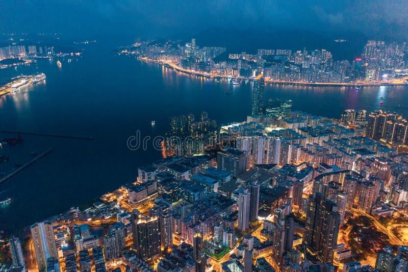 Hong Kong Victoria Harbor night view. Hong Kong Victoria Harbor at night stock images