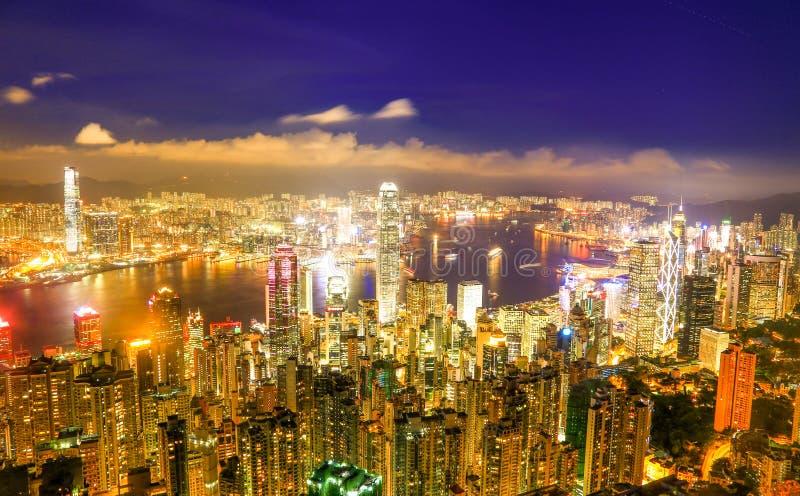 Hong Kong Victoria Harbor night view. Hong Kong Victoria harbor at the peak, the one of best view point in Hongkong royalty free stock image