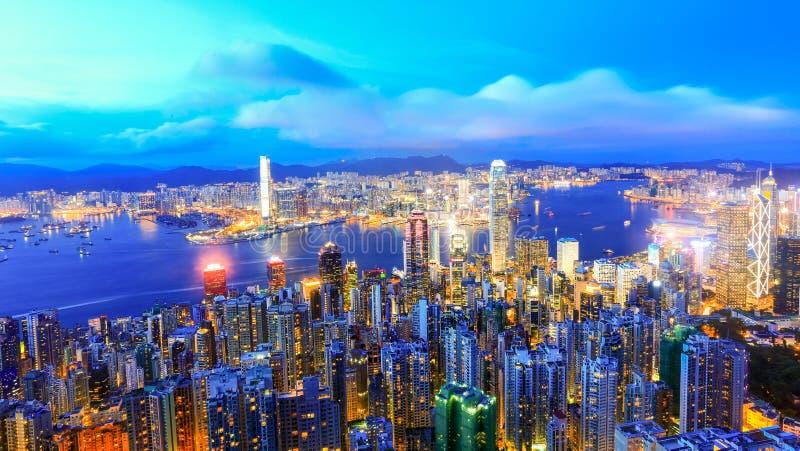 Hong Kong Victoria Harbor night view. Hong Kong Victoria harbor at the peak, the one of best view point in Hongkong stock photo