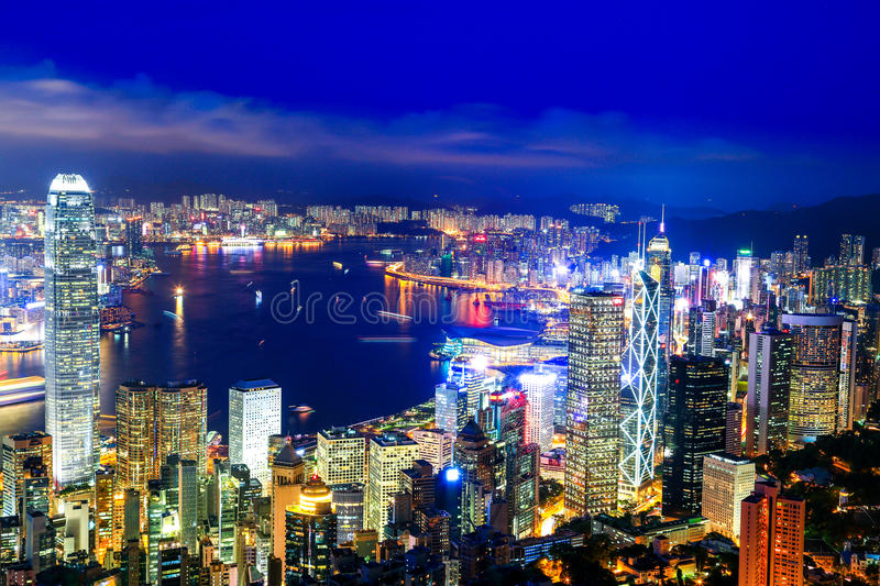 Hong Kong Victoria Harbor night view. Hong Kong Victoria harbor at the peak, the one of best view point in Hongkong stock photography