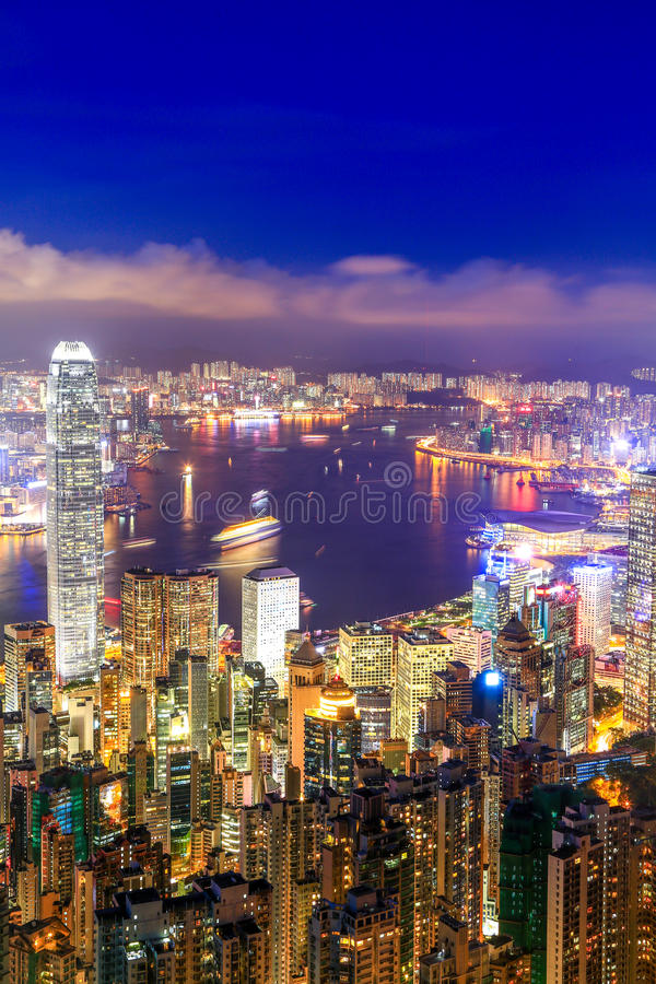 Hong Kong Victoria Harbor night view. Hong Kong Victoria harbor at the peak, the one of best view point in Hongkong royalty free stock photo