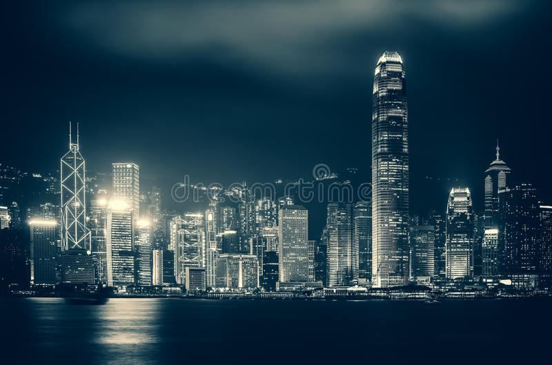 Hong Kong Victoria Harbor day and night. Hong Kong Victoria Harbor, photo token with Canon 5D mark III stock photo
