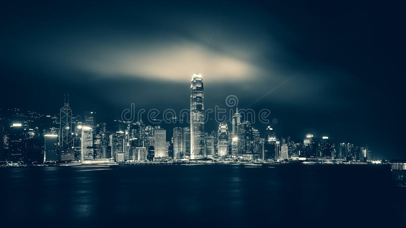 Hong Kong Victoria Harbor day and night. Hong Kong Victoria Harbor, photo token with Canon 5D mark III stock image